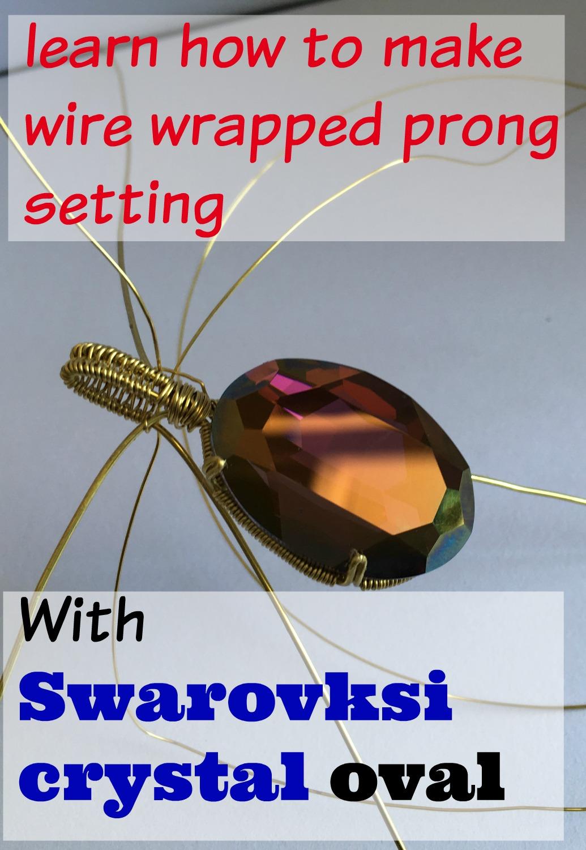 Prong set Swarovski crystal oval pendant