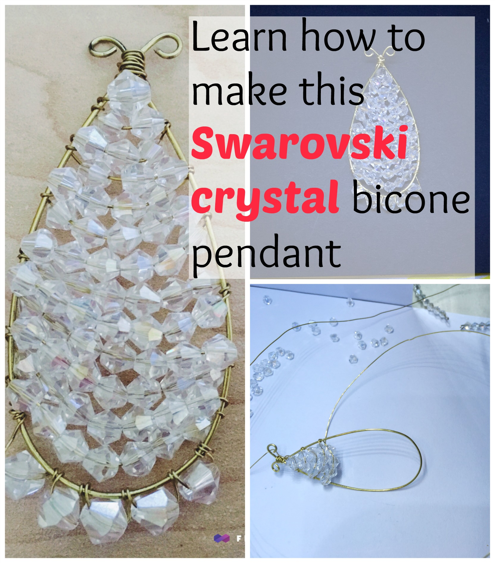 Wire Wrapped Swarovski Crystal Pendant with Bicone beads Tutorial