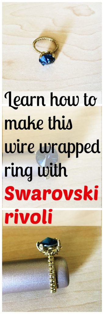 Make this prong set ring using wire and Swarovski crystal