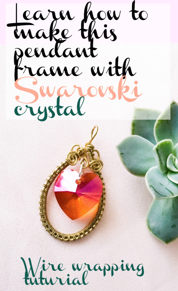 Make this pendant using wire and Swarovski crystal