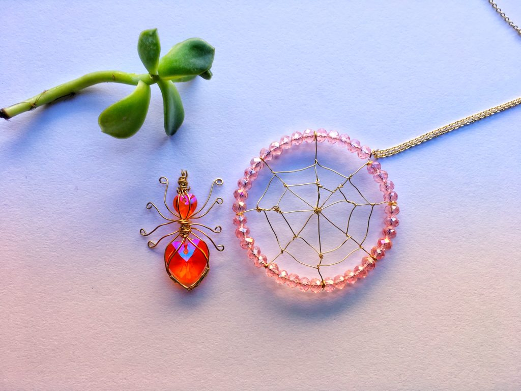 spider and web necklaces