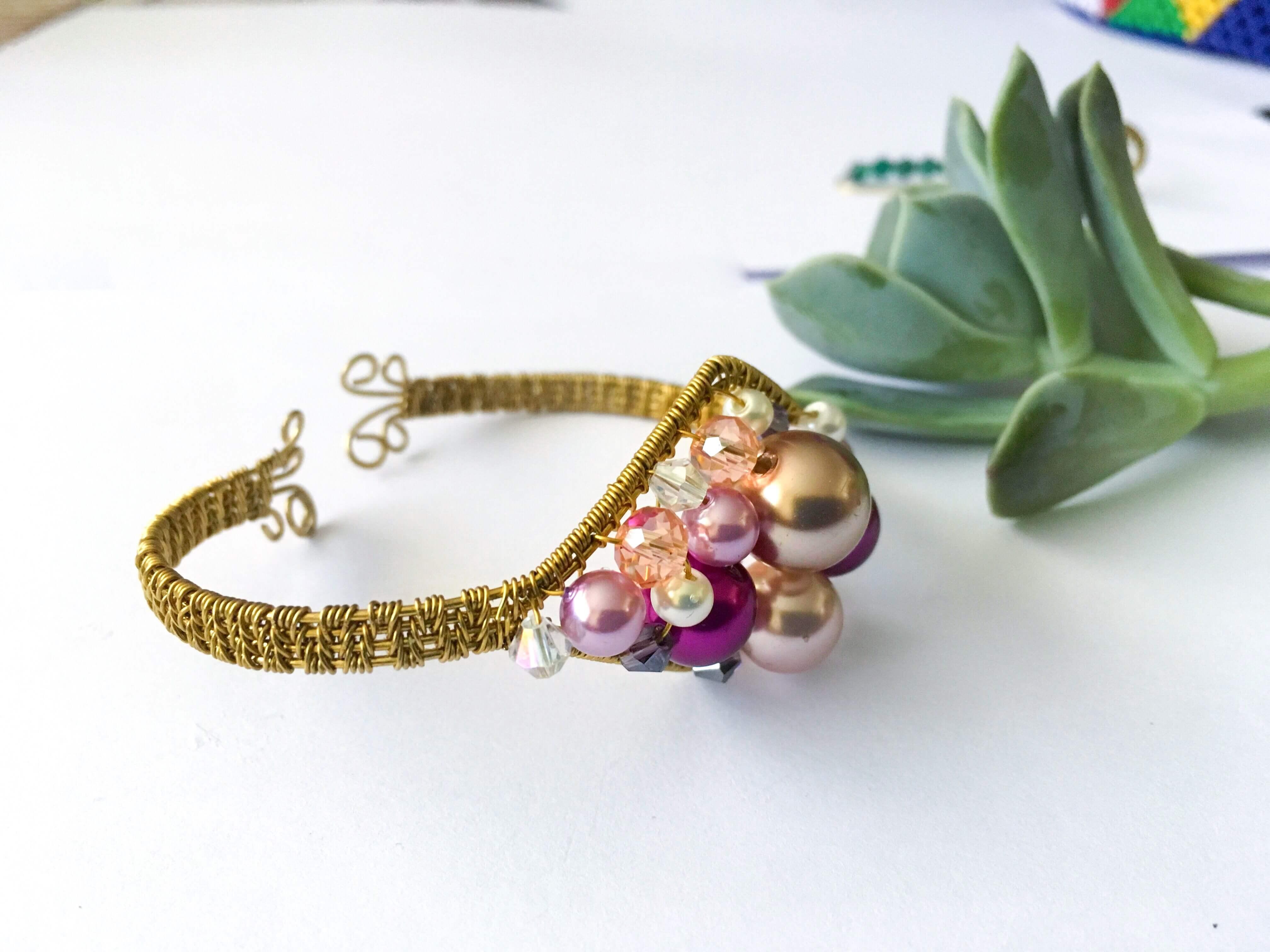 Diamond Bangle |Wire wrapped bracelet tutorial